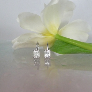Emerald Cut Herkimer Diamond Earrings