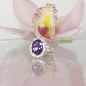 Large amethyst halo ring