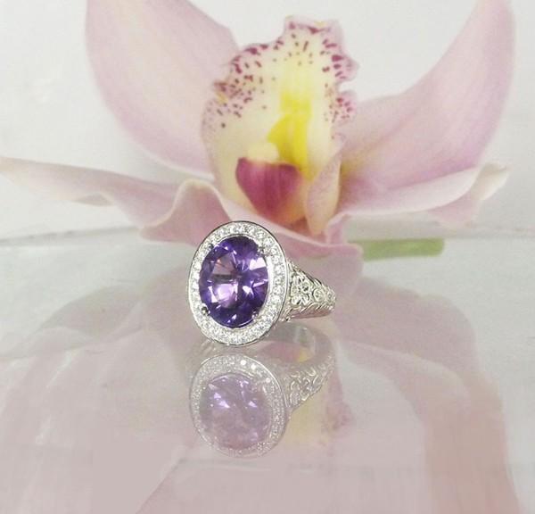 Large amethyst halo ring