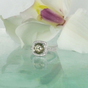 Halo champagne engagement ring