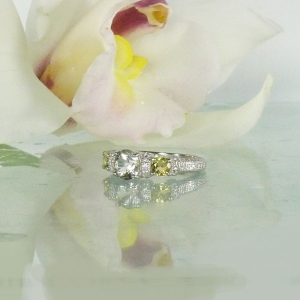 Herkimer diamond beryl accents ring