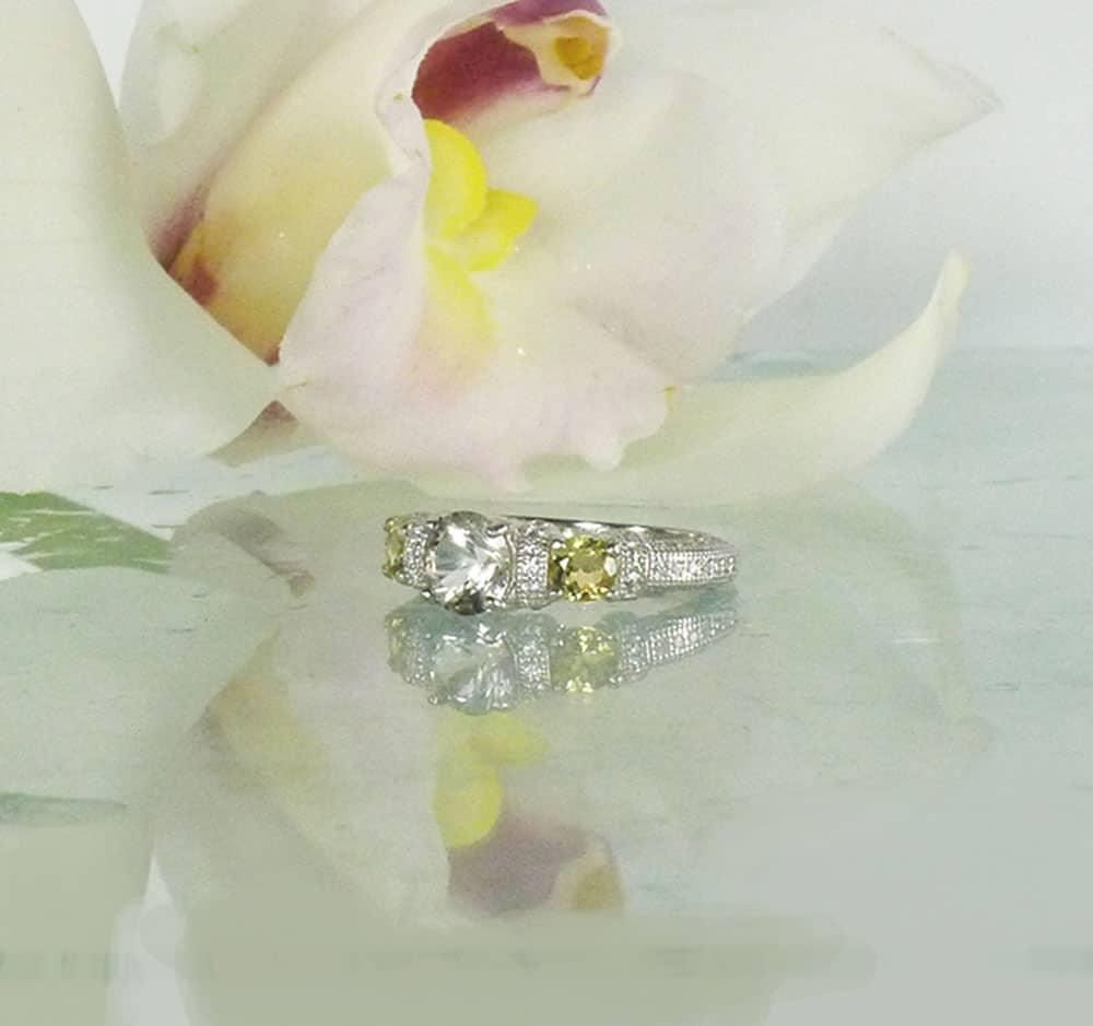 Herkimer diamond beryl accents ring