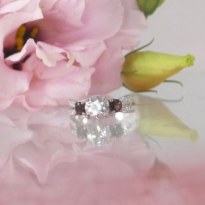 White Topaz Three Stone Ring