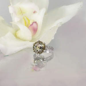 Champagne herkimer solitaire ring
