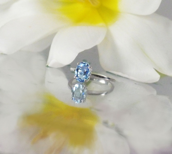 Maine Aquamarine Solitaire Ring
