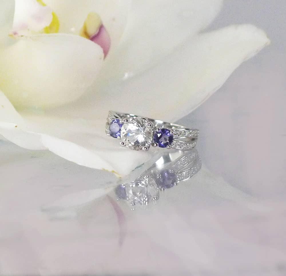 Herkimer Diamond Tanzanite Ring