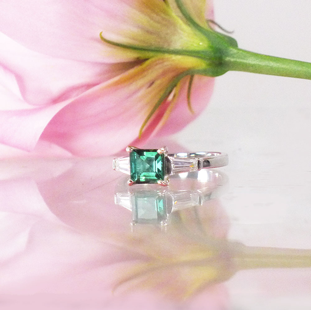 Square green tourmaline ring