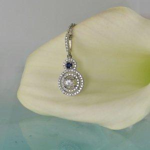 Herkimer diamond sapphire necklace