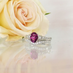 Pink Tourmaline Engagement Set