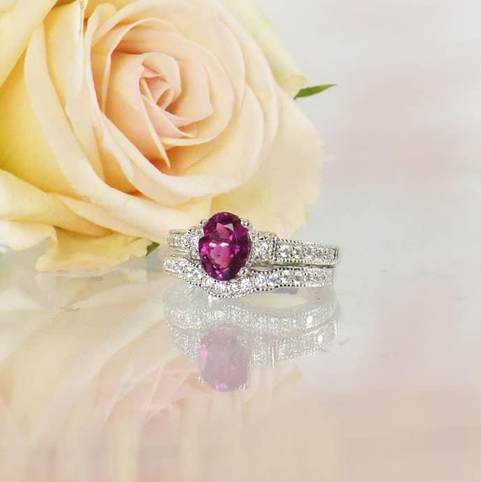Pink Tourmaline Engagement Set