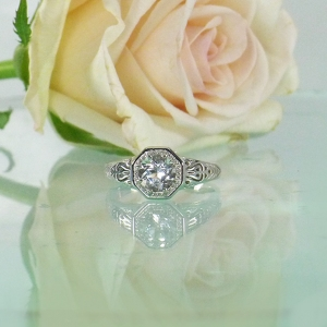 White Topaz Antique Style Ring