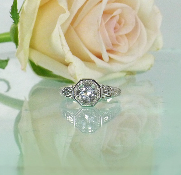 White Topaz Antique Style Ring