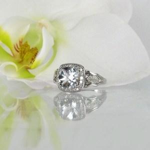 Art Deco Cushion Cut Engagement Ring