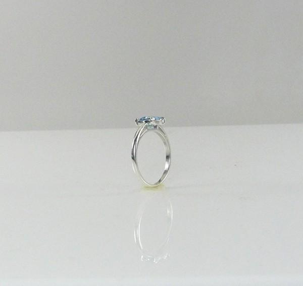 Aquamarine Square Solitaire Ring