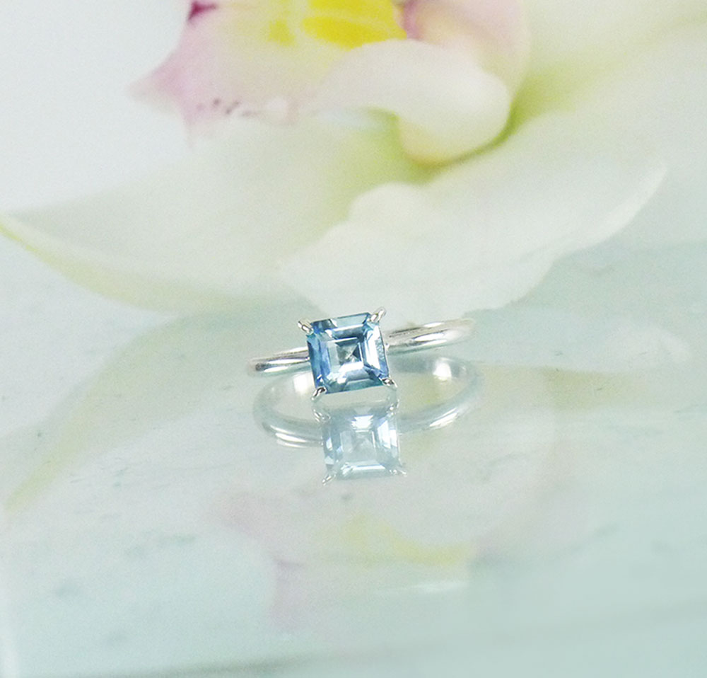 Aquamarine Square Solitaire Ring