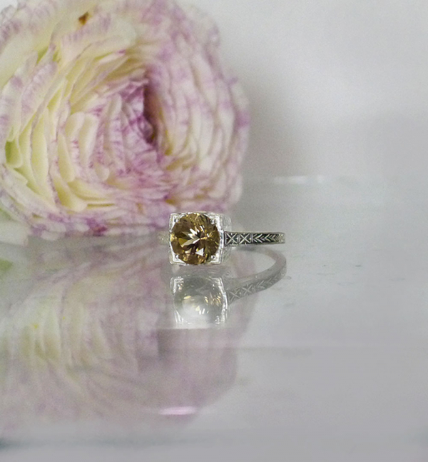 Solitaire herkimer art deco ring