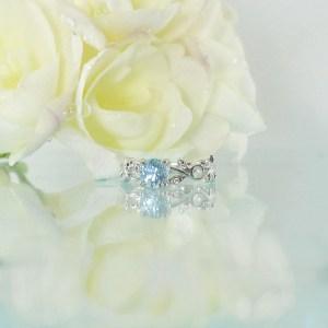Aquamarine Leaf Ring