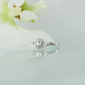Herkimer Diamond Aquamarine Ring