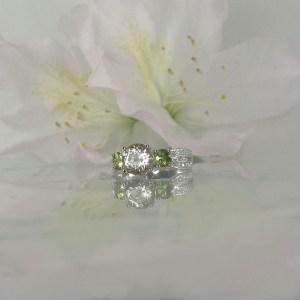Herkimer diamond green sapphire ring