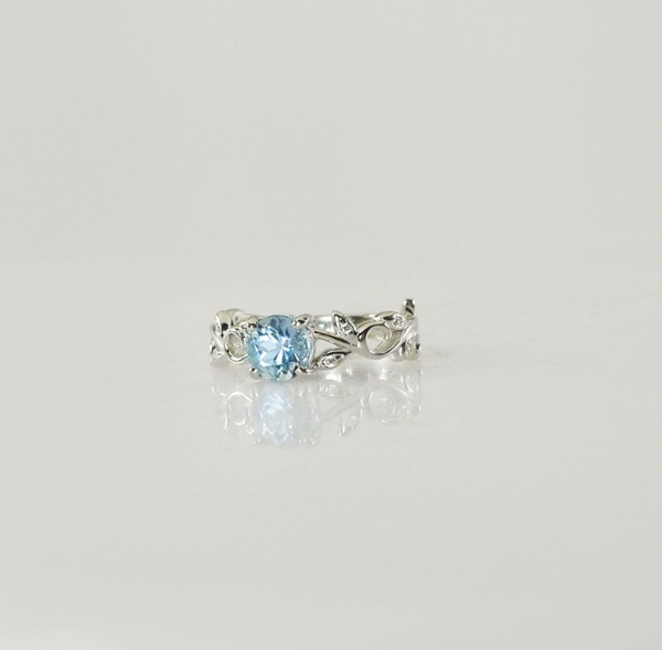 Aquamarine Leaf Ring