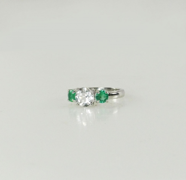 Herkimer Diamond Emerald Ring