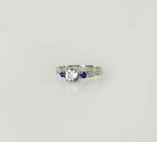 Herkimer diamond blue sapphire ring