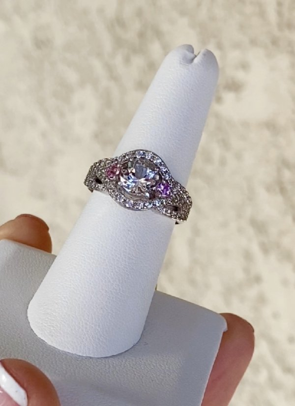 Herkimer pink sapphire ring