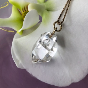 Herkimer Diamond Gold Pendant