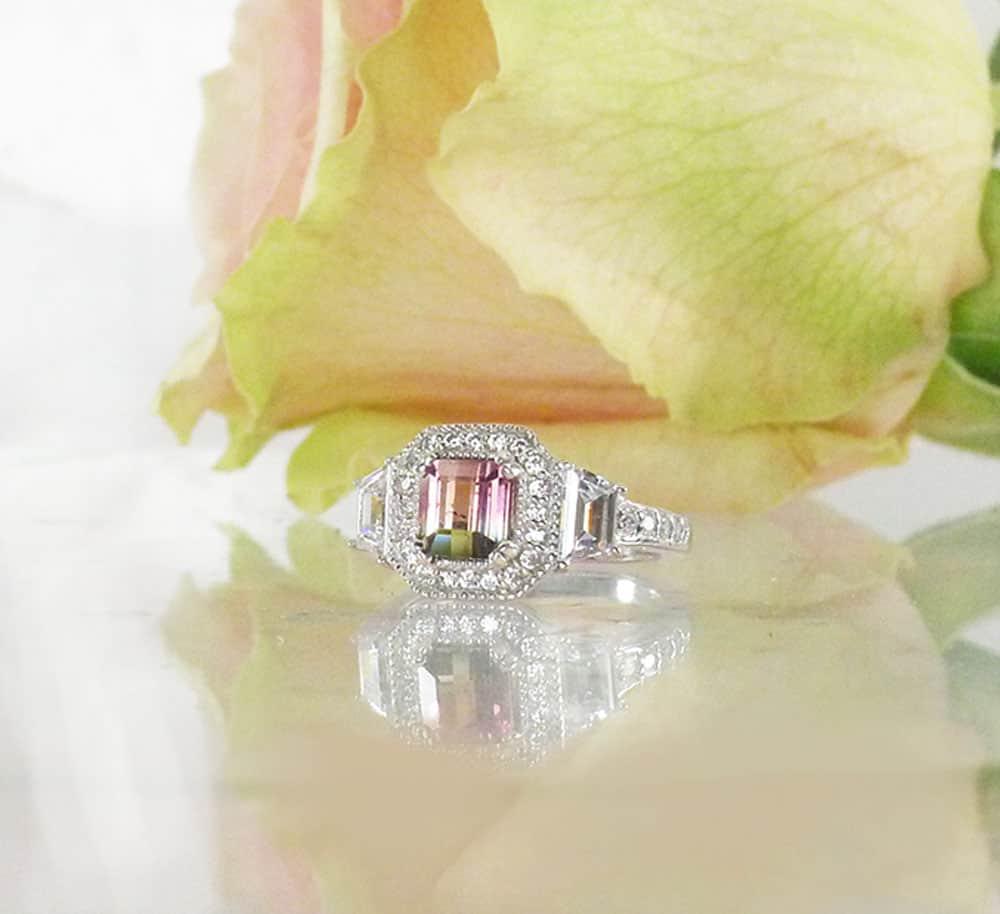 Watermelon tourmaline halo ring