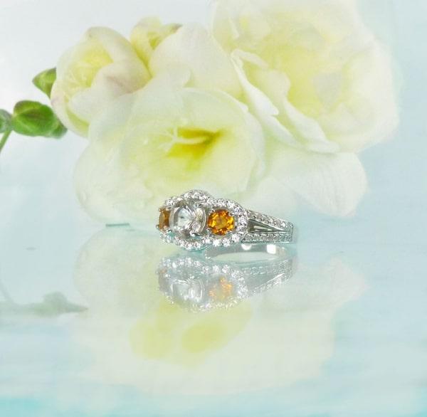 Herkimer diamond tourmaline ring
