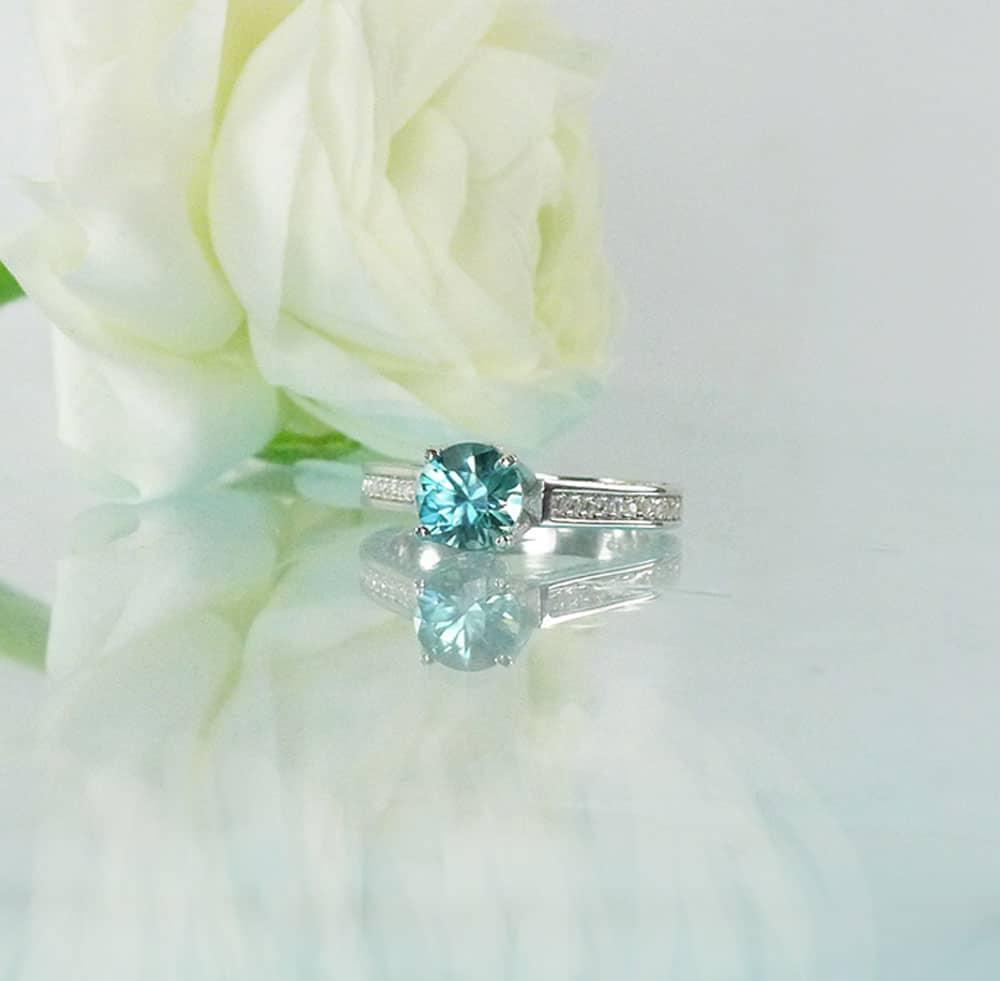 Round Blue Zircon Ring