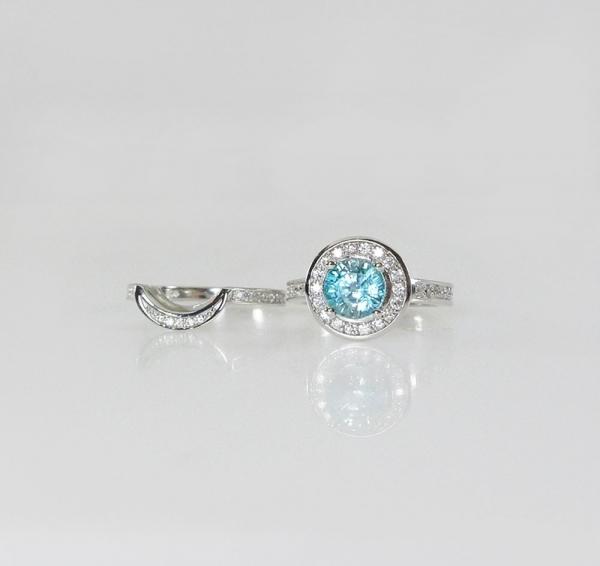 Natural Blue Zircon Ring