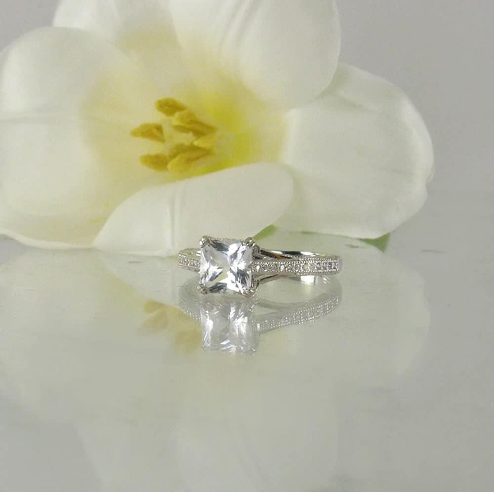 Princess Cut Herkimer Ring