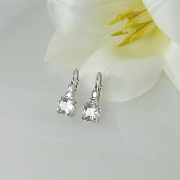 Square herkimer earrings