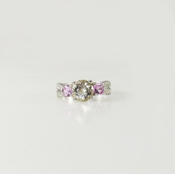 Herkimer diamond purple sapphire ring