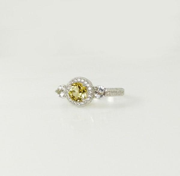 Yellow Tourmaline Halo Ring