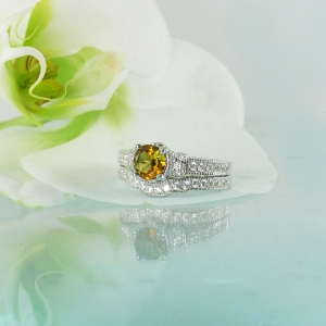 Gold Tourmaline Wedding Set