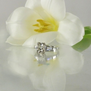 Emerald Cut Herkimer Ring