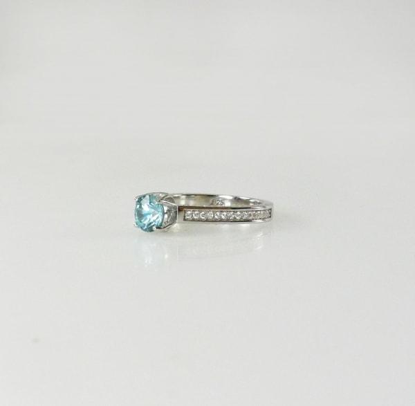 Unique Round Blue Zircon Ring