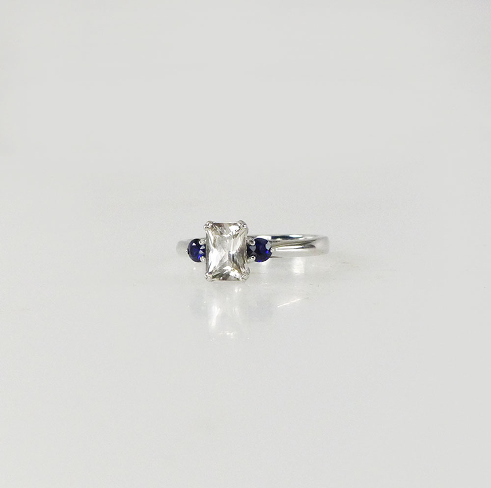 Emerald Cut Herkimer Ring Sapphire Accents September Birthstone Ring