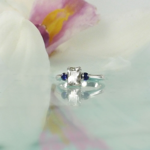 Emerald Cut Herkimer Ring Sapphire Accents