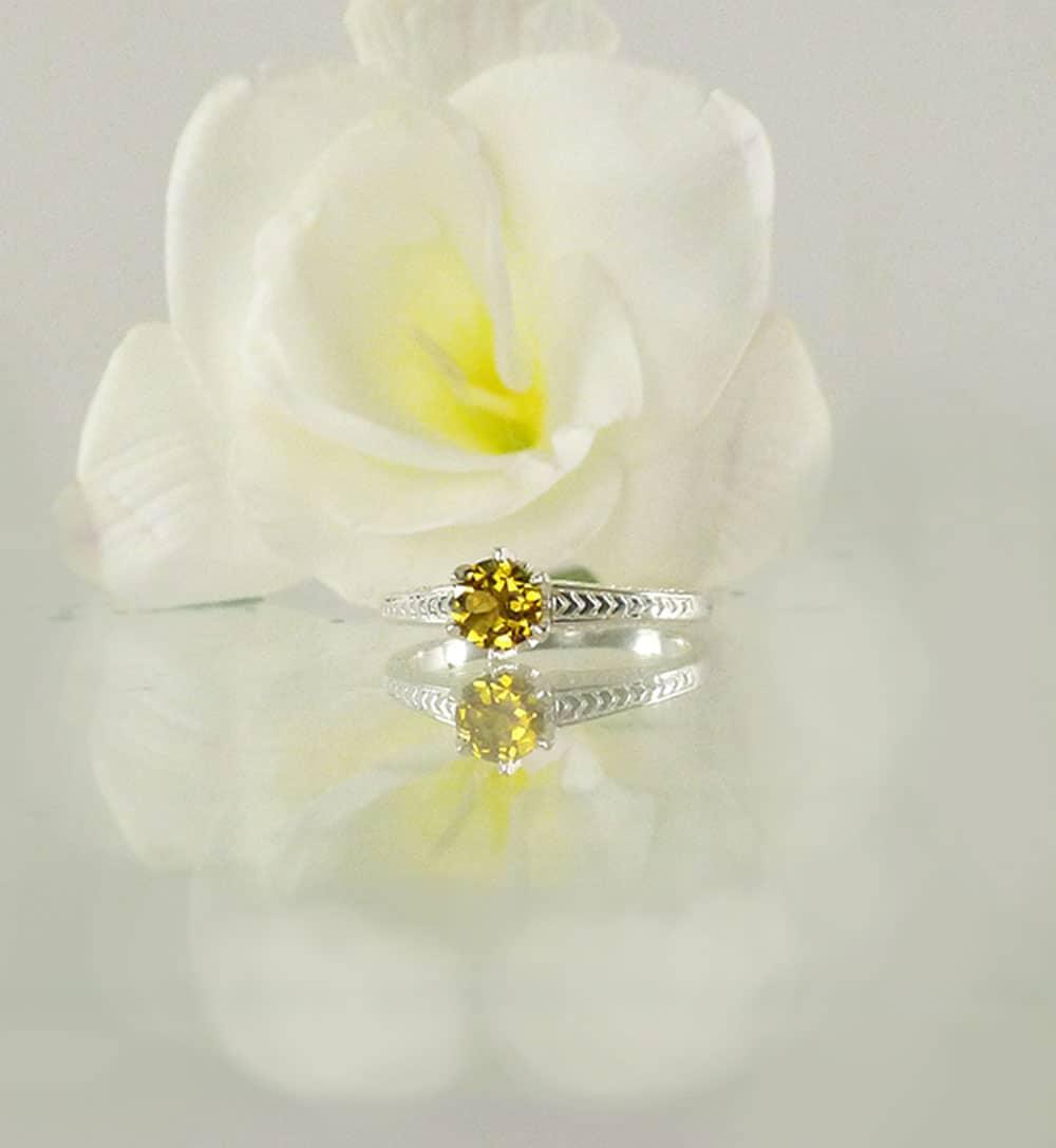Yellow Tourmaline Solitaire Ring