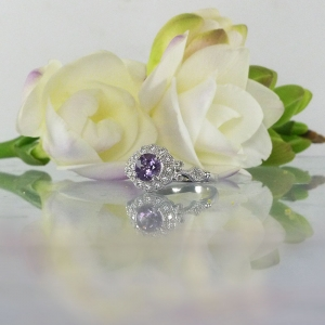Halo Amethyst Sterling Silver Ring