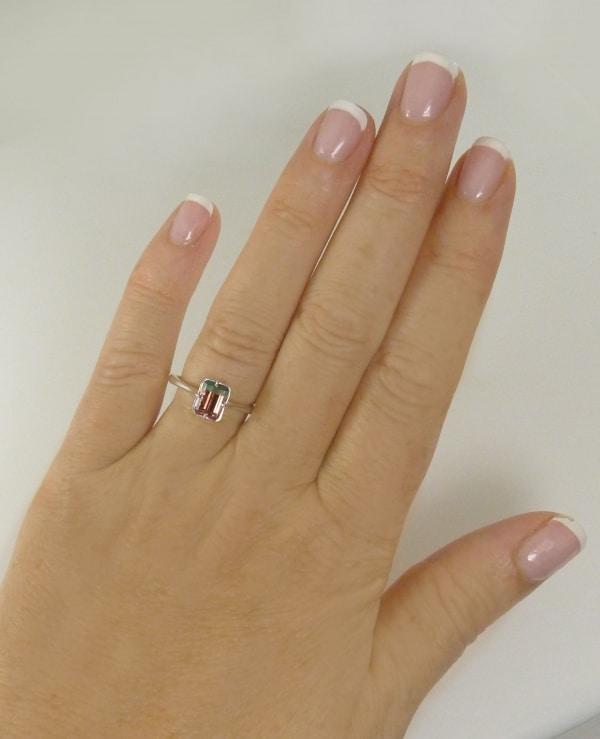Bi- Color Tourmaline Solitaire Ring