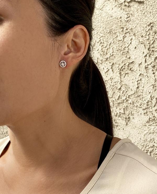 Herkimer Halo Earrings