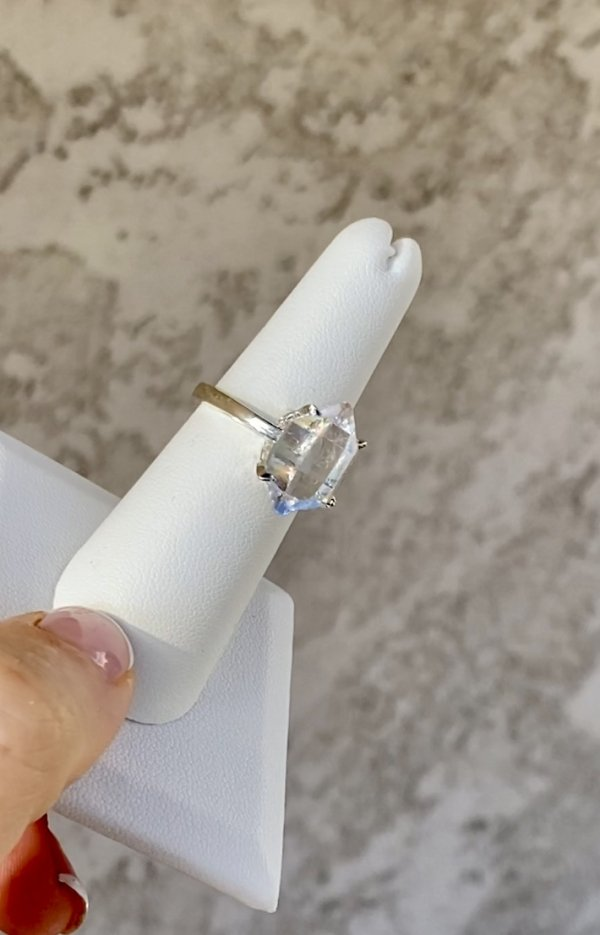 Raw Crystal Herkimer Ring