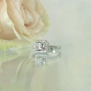 Asscher cut herkimer engagement ring