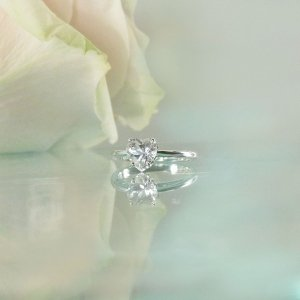 Herkimer Solitaire Heart Ring