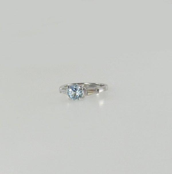 Round Aquamarine Ring
