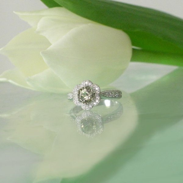 Champagne herkimer flower ring